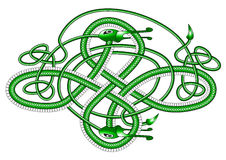 Celtic knot dragon;. A green dragon in the form of a Cletic knot on a white background Royalty Free Stock Photography