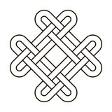 Celtic knot geometric ancient cross tribal vector knotted logo illustration. Knot work gaelic tattoo knotty ornament. Geometrical black knit circle ornate Royalty Free Stock Photography