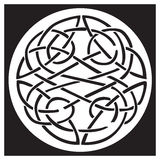 A celtic knot and pattern in a circle design. Inside a black square. Great for artwork or tattoo Royalty Free Stock Images