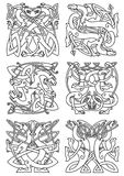 Celtic knot pattern with tribal dragons Stock Photography