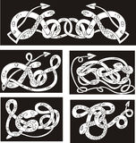 Celtic knot patterns with snakes. Set of vector illustrations Royalty Free Stock Images