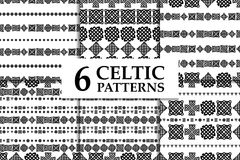 Celtic knot seamless black and white pattern set. Six ethnic abstract backgrounds.  Stock Photo