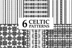 Celtic knot seamless pattern set. Celtic knot seamless black and white pattern set. Six ethnic abstract backgrounds Stock Images