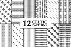Celtic knot seamless pattern set. Celtic knot seamless black and white pattern set. Twelve ethnic abstract backgrounds Royalty Free Stock Images