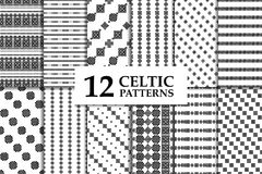 Celtic knot seamless pattern set. Celtic knot seamless black and white pattern set. Twelve ethnic abstract backgrounds Stock Photography