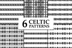 Celtic knot seamless pattern set. Celtic knot seamless black and white pattern set. Six ethnic abstract backgrounds Stock Photo