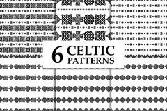 Celtic knot seamless pattern set. Celtic knot seamless black and white pattern set. Six ethnic abstract backgrounds Stock Photos
