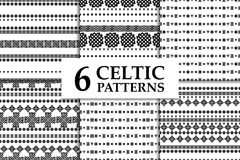 Celtic knot seamless pattern set. Celtic knot seamless black and white pattern set. Six ethnic abstract backgrounds Royalty Free Stock Image