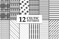 Celtic knot seamless pattern set. Celtic knot seamless black and white pattern set. Twelve ethnic abstract backgrounds Royalty Free Stock Photos