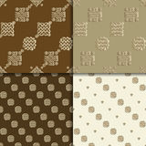 Celtic knot seamless pattern set. Celtic knot seamless brown pattern set. Abstract backgrounds Royalty Free Stock Images