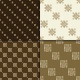 Celtic knot seamless pattern set. Celtic knot seamless brown pattern set. Abstract backgrounds Royalty Free Stock Photo