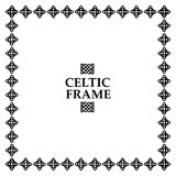 Celtic knot square frame. Celtic knot black and white frame. Ethnic abstract border Royalty Free Stock Images
