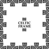 Celtic knot square frame. Celtic knot black and white frame. Ethnic abstract border Stock Photos