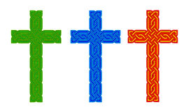 Celtic knot style crosses - green blue and red gold. Royalty Free Stock Photography