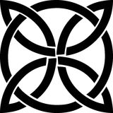 Celtic knot symbol. Celtic black knot mystic religious symbol over white Stock Photos