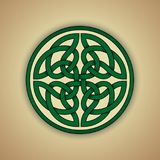 Celtic Knot Symbol of Eternity. Vector illustration of green celtic eternity knot with grunge texture Royalty Free Stock Photo
