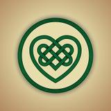 Celtic Knot Symbol of Love. Vector illustration of green Celtic love knot with slight grunge texture stock illustration