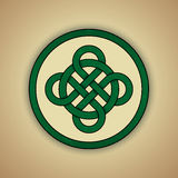 Celtic Knot Symbol of Luck. Vector illustration of green celtic knot with slight grunge texture Stock Photos