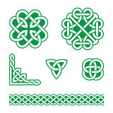 Celtic knots green patterns -. Set of traditional Celtic symbols, knots, braids isolated on white Royalty Free Stock Photography