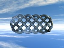 Celtic knots. Metal celtic knots under cloudy sky - 3d illustration Royalty Free Stock Images