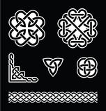 Celtic knots patterns in white on black background Stock Images