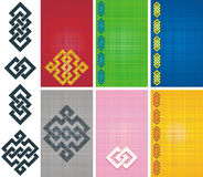 Celtic knotwork. Basic shapes set with samples of use and fabric texture backgrounds Stock Image