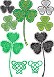 Celtic leaf. No gradient Vector leaf clover with stylized Celtic pattern Stock Illustration