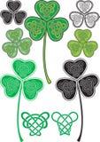 Celtic leaf. No gradient Vector leaf clover with stylized Celtic pattern stock illustration