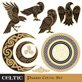 Celtic Magic set. Celtic horned Moon and Sun, Celtic Owl, Celtic Raven. Isolated on white, vector illustration Stock Photography