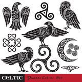 Celtic Magic set. Celtic horned Moon, Celtic Owl, Celtic Raven. Isolated on white, vector illustration Stock Illustration