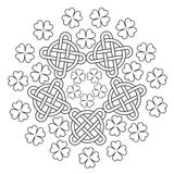 Celtic Mandala with knot ornament and clover of 4 leafs. Royalty Free Stock Image