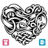 Celtic modell för vektor i formen av hjärta Arkivbilder