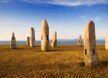 Celtic monuments in A Coruna, Galicia, Spain. The photo is taken in a beautiful sunset Stock Image