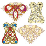 Celtic motifs. Abstract celtic color design works - zoomorph motifs Royalty Free Stock Photo