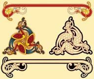 Celtic motifs. Abstract celtic color design works - zoomorph motifs Stock Photo