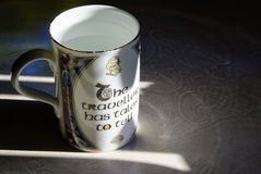 A Celtic Mug and Irish Knotwork Reflection Royalty Free Stock Images