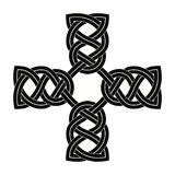 Celtic national cross. Celtic cross with national ornament as interlaced ribbon isolated on white background Stock Image