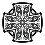 Celtic national cross. Celtic cross with national ornament as interlaced ribbon and dogs isolated on white background Royalty Free Stock Photos