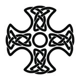 Celtic national cross. Celtic national cross with ornament interlaced ribbon isolated on white background. Element for graphic design and tattoo stock illustration
