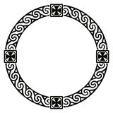 Celtic national ornament. Celtic national circle ornament as interlaced ribbon with crosses isolated on white background Royalty Free Stock Images