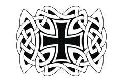 Celtic national ornament. Celtic national ornament interlaced ribbon with a cross in the center isolated on white background. Element for graphic design vector illustration