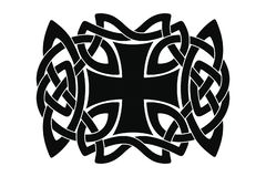 Celtic national ornament. Celtic national ornament interlaced ribbon with a cross in the center isolated on white background. Element for graphic design and royalty free illustration