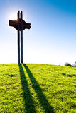 Celtic oppidum, Dolni Brezany near Prague, Czech republic. Celtic cross against the blue sky, Celtic oppidum, Dolni Brezany near Prague, Czech republic royalty free stock photo
