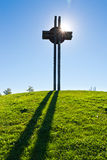 Celtic oppidum, Dolni Brezany near Prague, Czech republic. Celtic cross against the blue sky, Celtic oppidum, Dolni Brezany near Prague, Czech republic stock photo