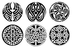 Celtic ornament. 6 different vector celtic ornament set stock illustration