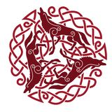 Celtic ornament with horses. Ancient Celtic Ornament of three horses Royalty Free Stock Image