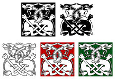 Celtic ornament with wild dogs Royalty Free Stock Photography
