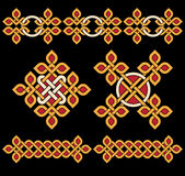 Celtic ornaments. Bright celtic ornaments over black royalty free illustration