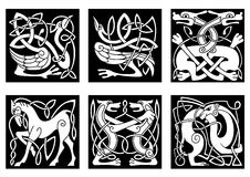 Celtic ornaments with animals Stock Images