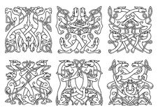 Celtic outline entwined mystical animals. Intricate entwined mystical dogs or wolves in overall square format in a black and white outline patterns Stock Photo